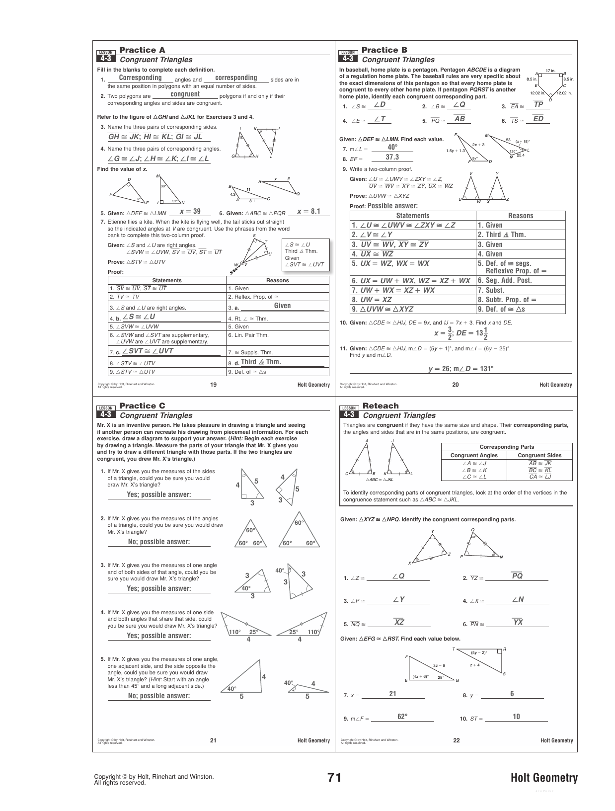 32 Geometry Worksheet Congruent Triangles Answer Key
