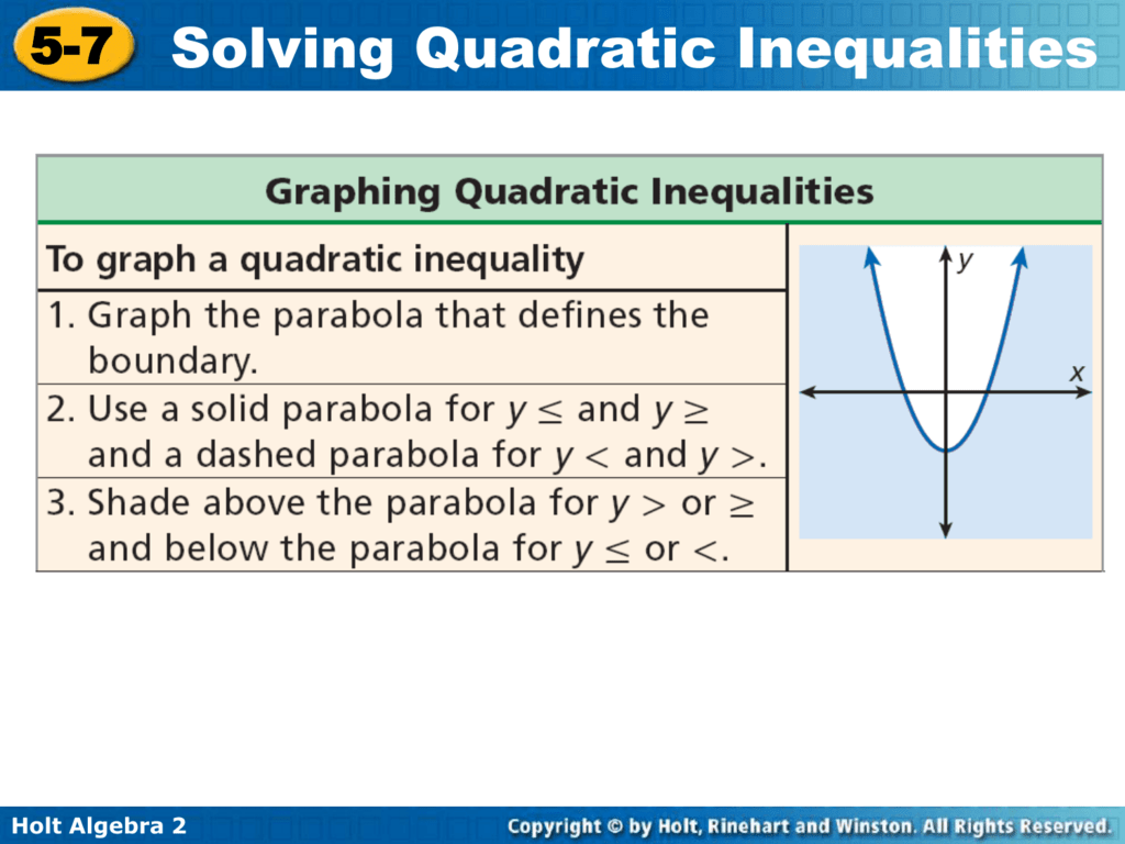 5 7 Solving Quadratic Inequalities
