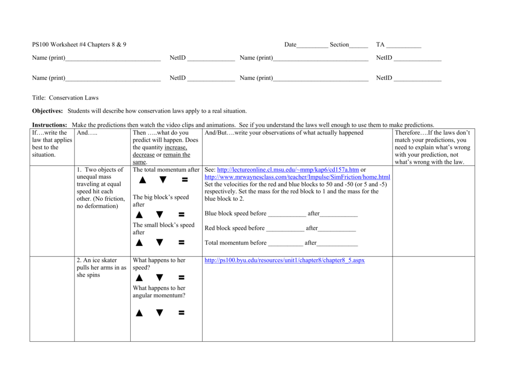 Worksheet 4 Conservation Laws