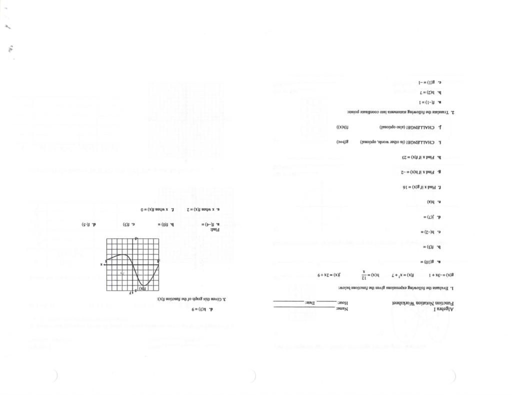 Algebra I Name Function Notation Worksheet Hour Date