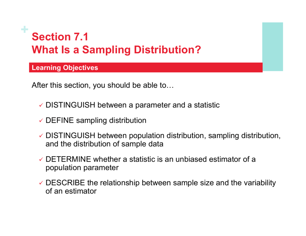 Section 7 1 What Is A Sampling Distribution