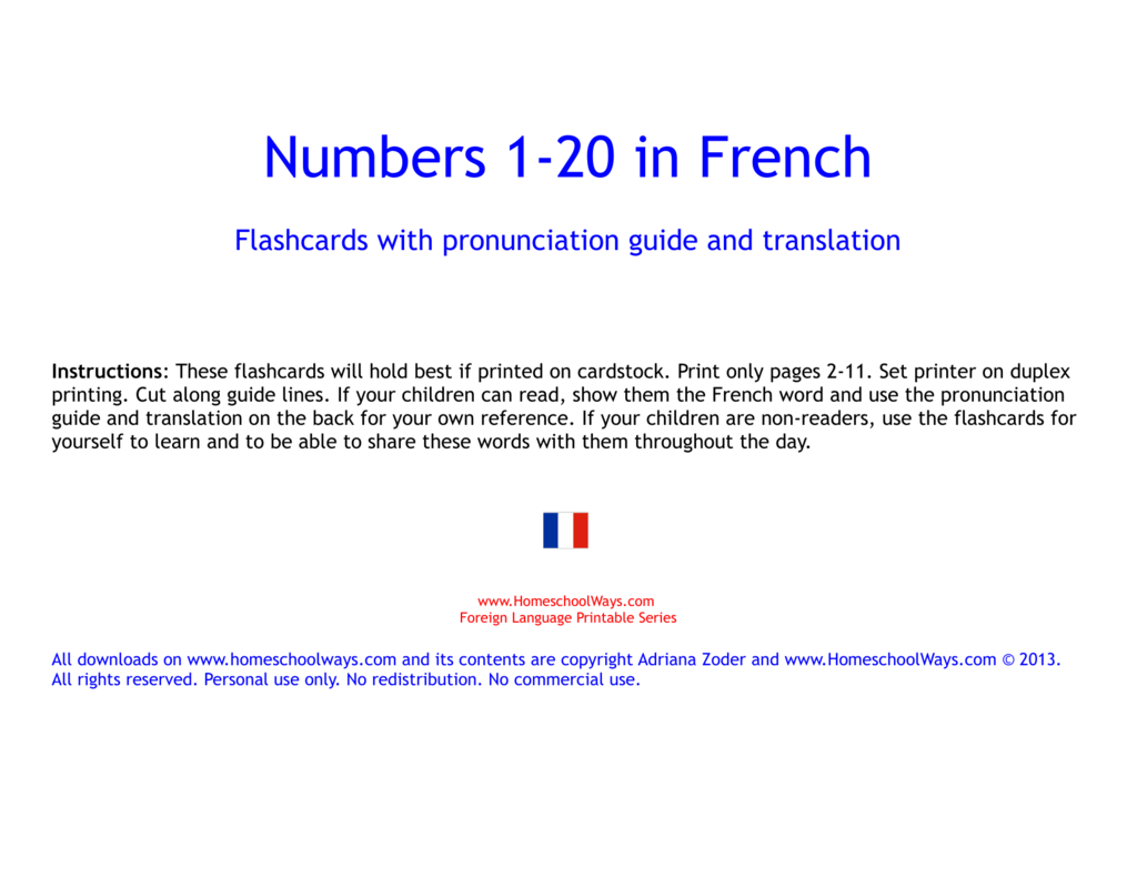 French Numbers 1 20