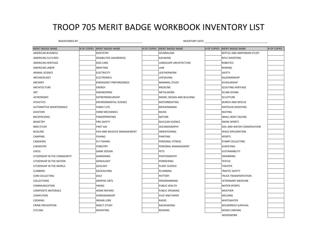 Merit Badge Workbook Inventory