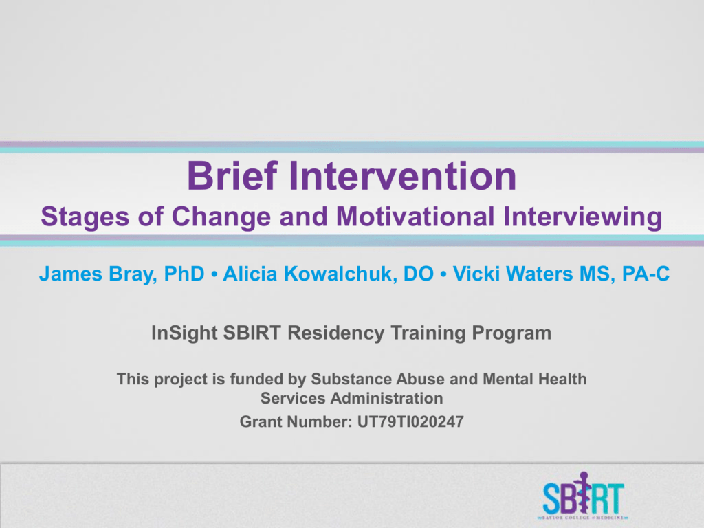 Brief Intervention Stages Of Change And Motivational
