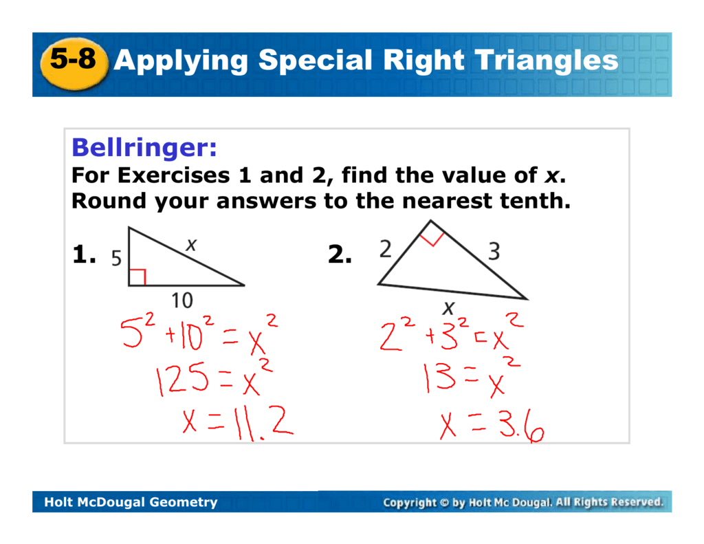 Geometry Worksheet 8 2 Special Right Triangles Answers