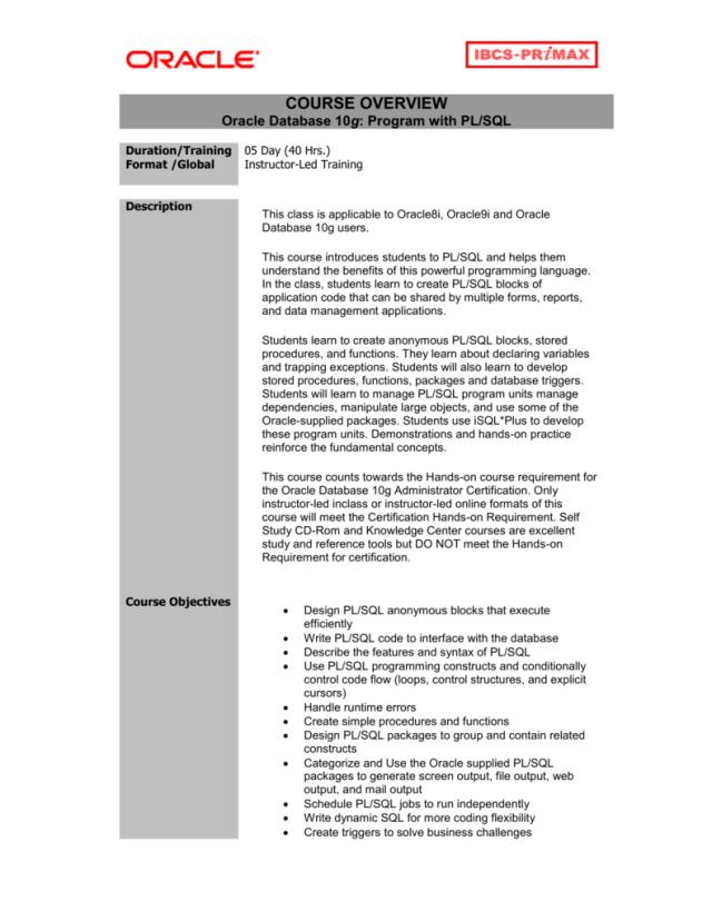 Oracle Database 22g: Program with PL/SQL