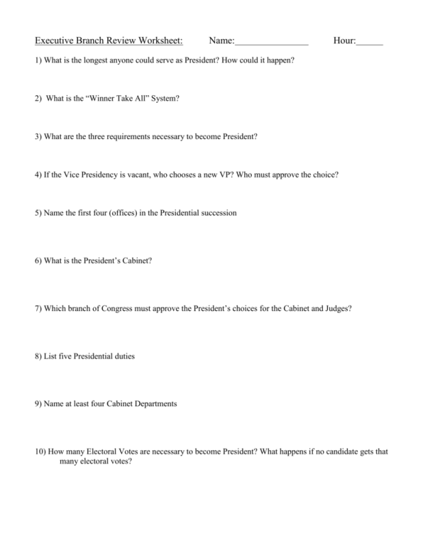 The President S Cabinet Executive Branch Departments Worksheet ...