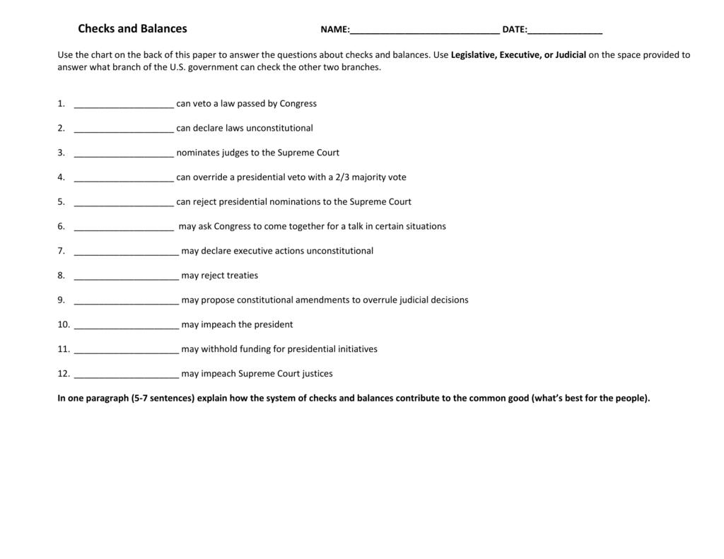 Worksheets Checks And Balances Worksheet Cheatslist Free
