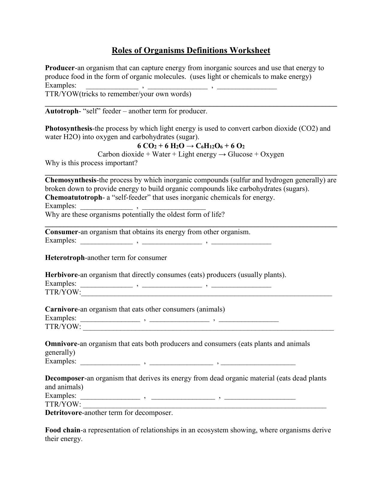 Roles Of Organisms Definitions Worksheet Producer