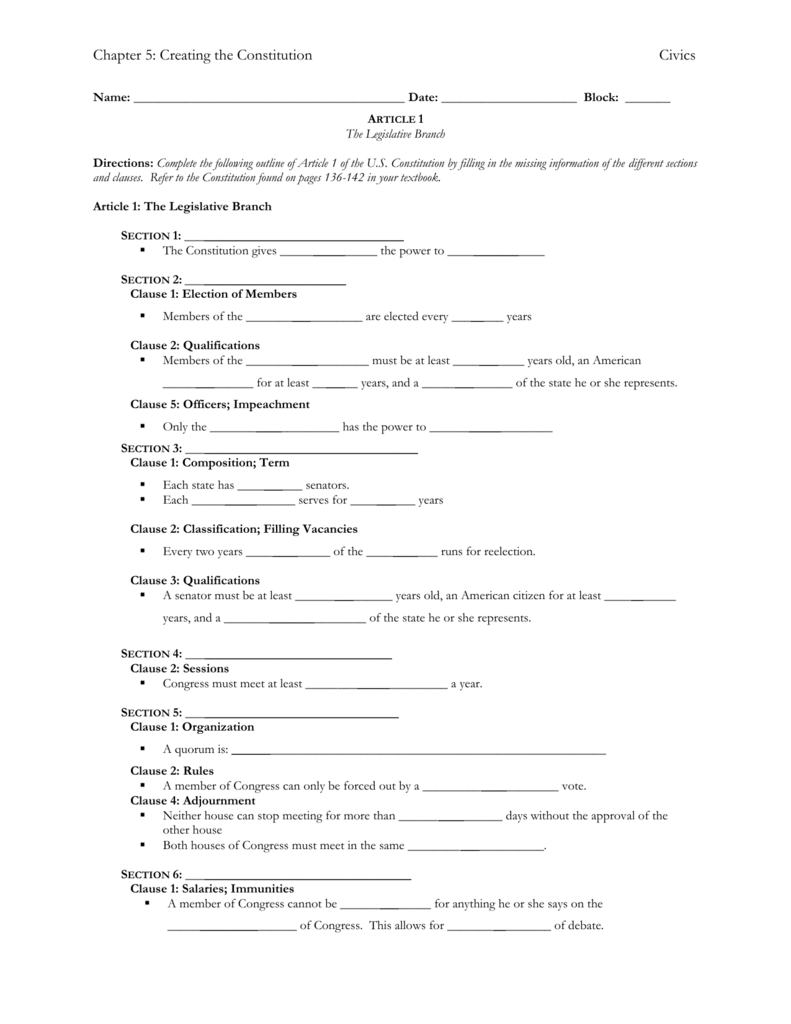 Creating The Constitution Worksheet Answer Key