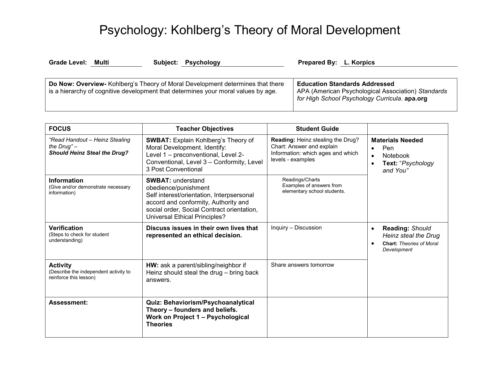 Do Now Overview Kohlberg S Theory Of Moral Development