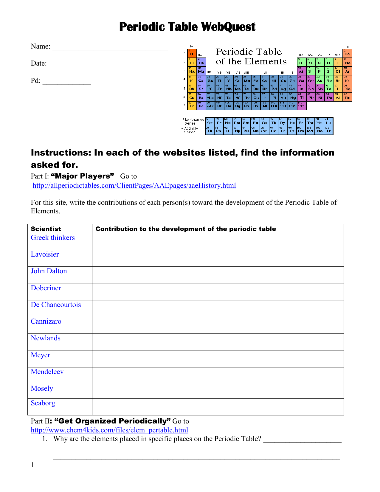 Periodic Table Webquest Worksheet Answers