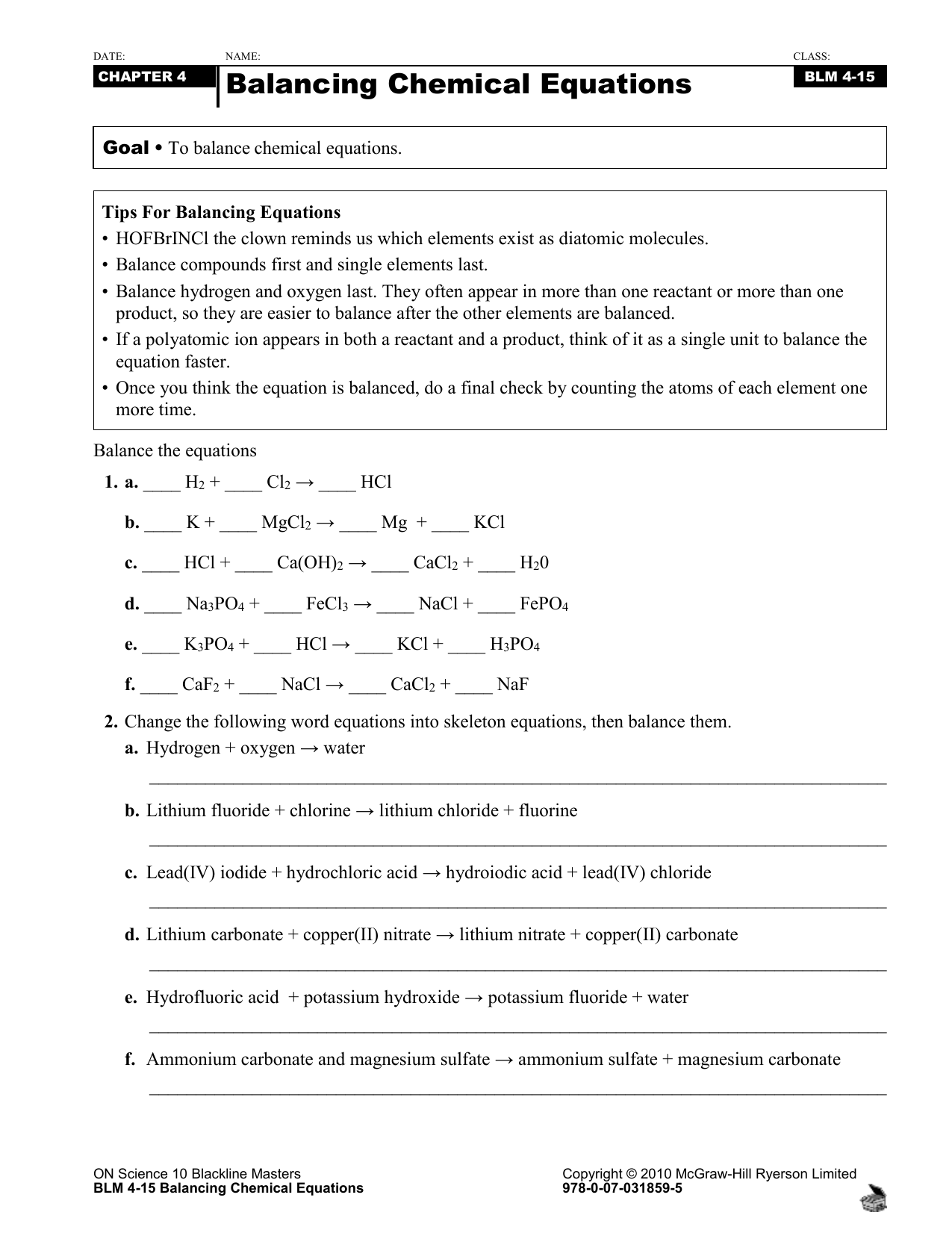 Date Name Class Chapter 4 Balancing Chemical Equations