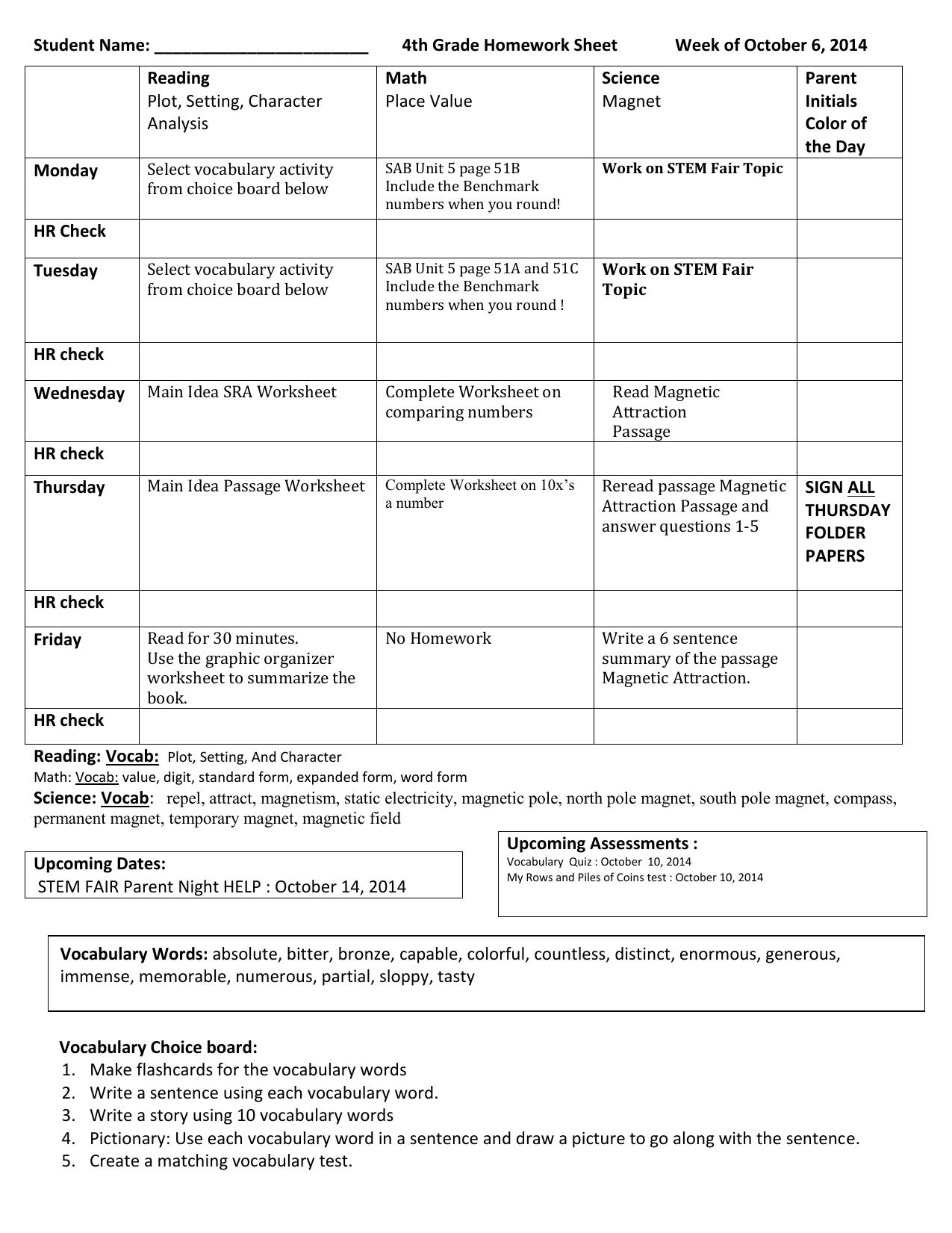 Student Name 4th Grade Homework Sheet Week Of October 6