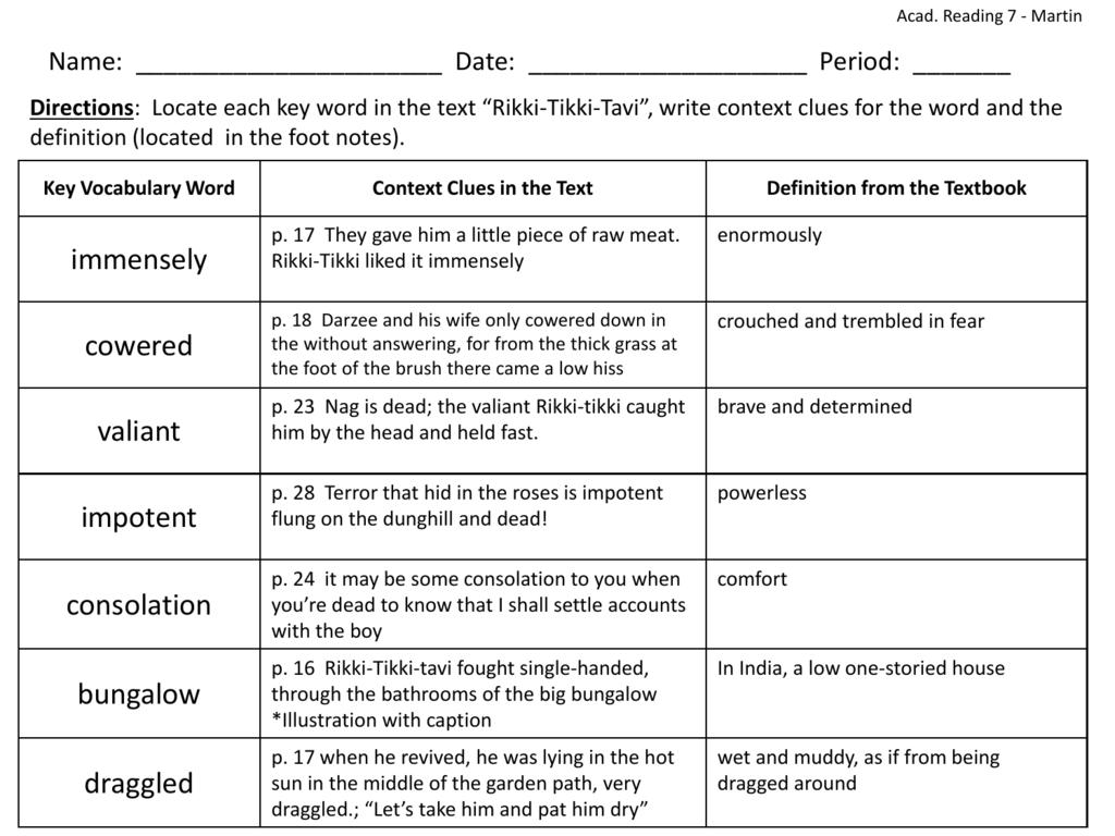 Rikki Tikki Vocabulary Key