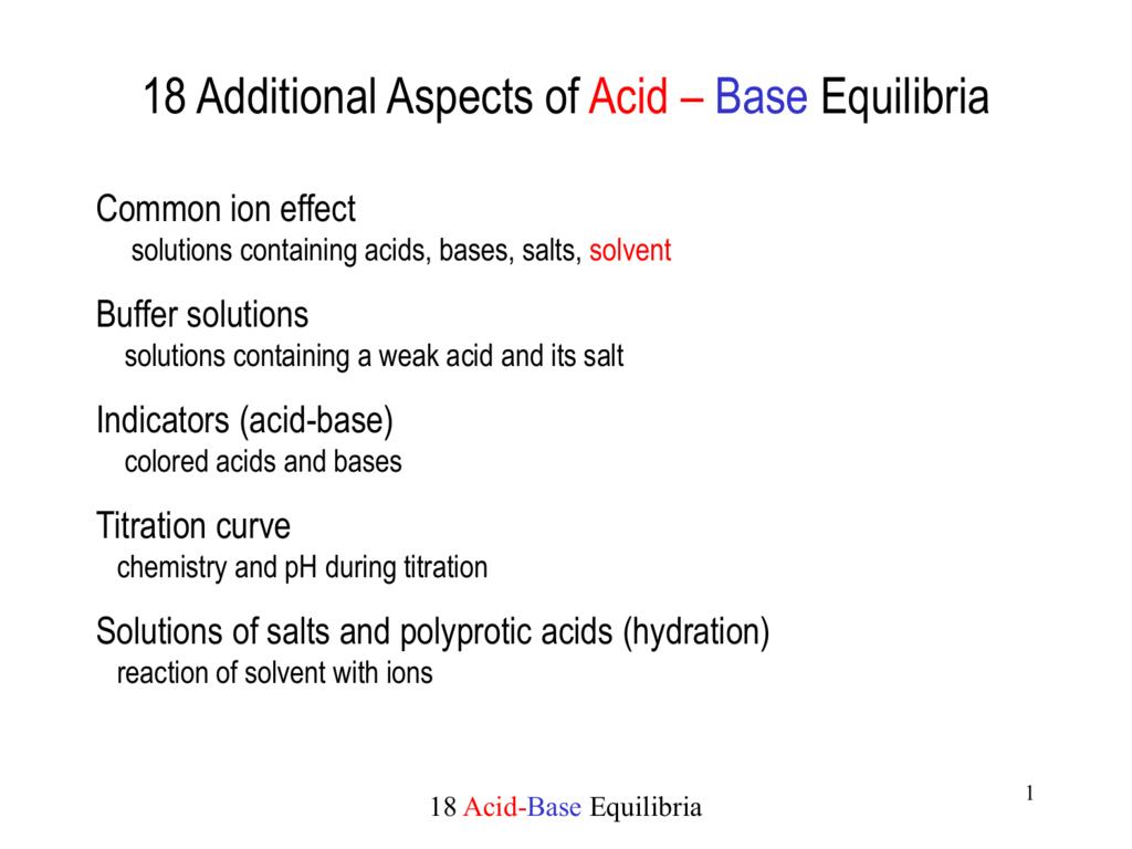 16 Acid Base Equilibria