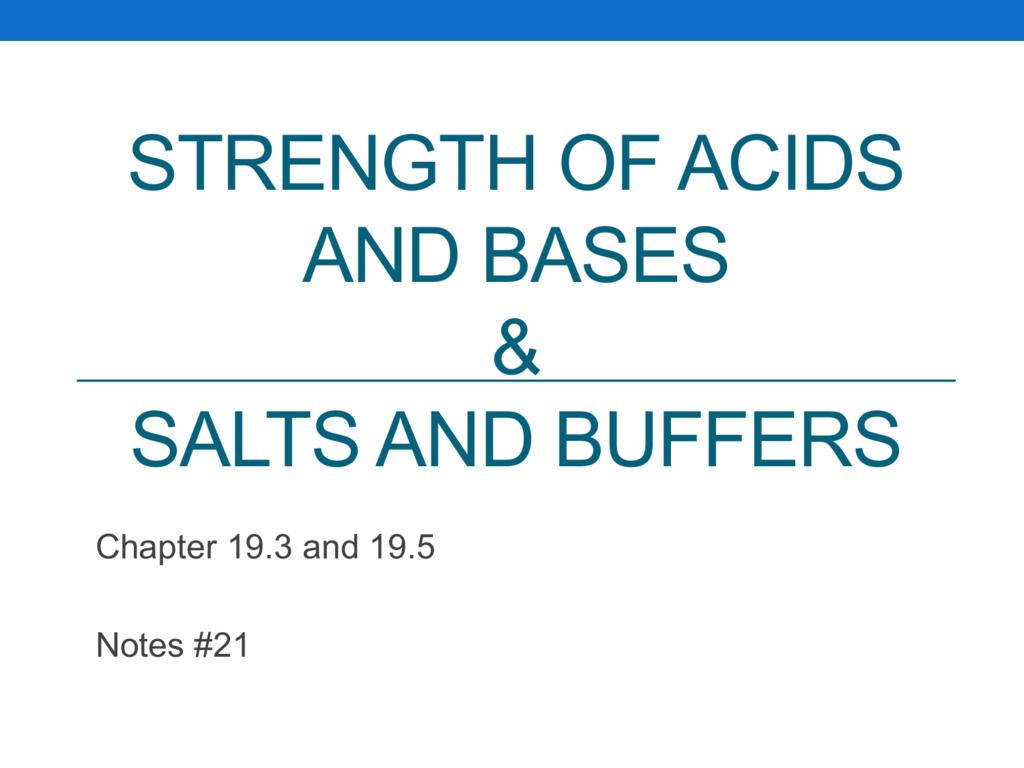 Weak Acids And Bases Salts And Buffers