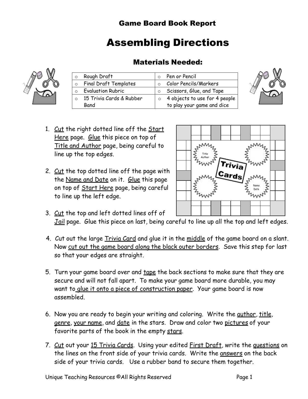 Game Board Book Report Directions
