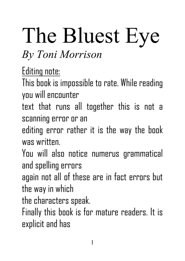 toni morrison the bluest eye full book org the bluest eye