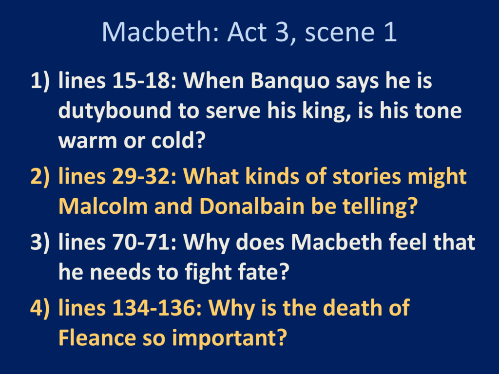 Macbeth Act 3 Reading Questions