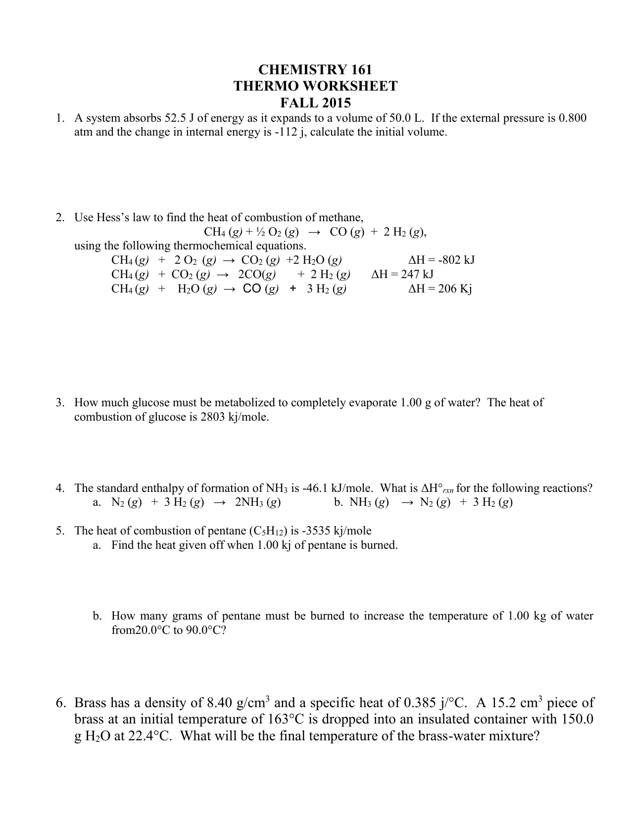 Thermochemistry Worksheet 1