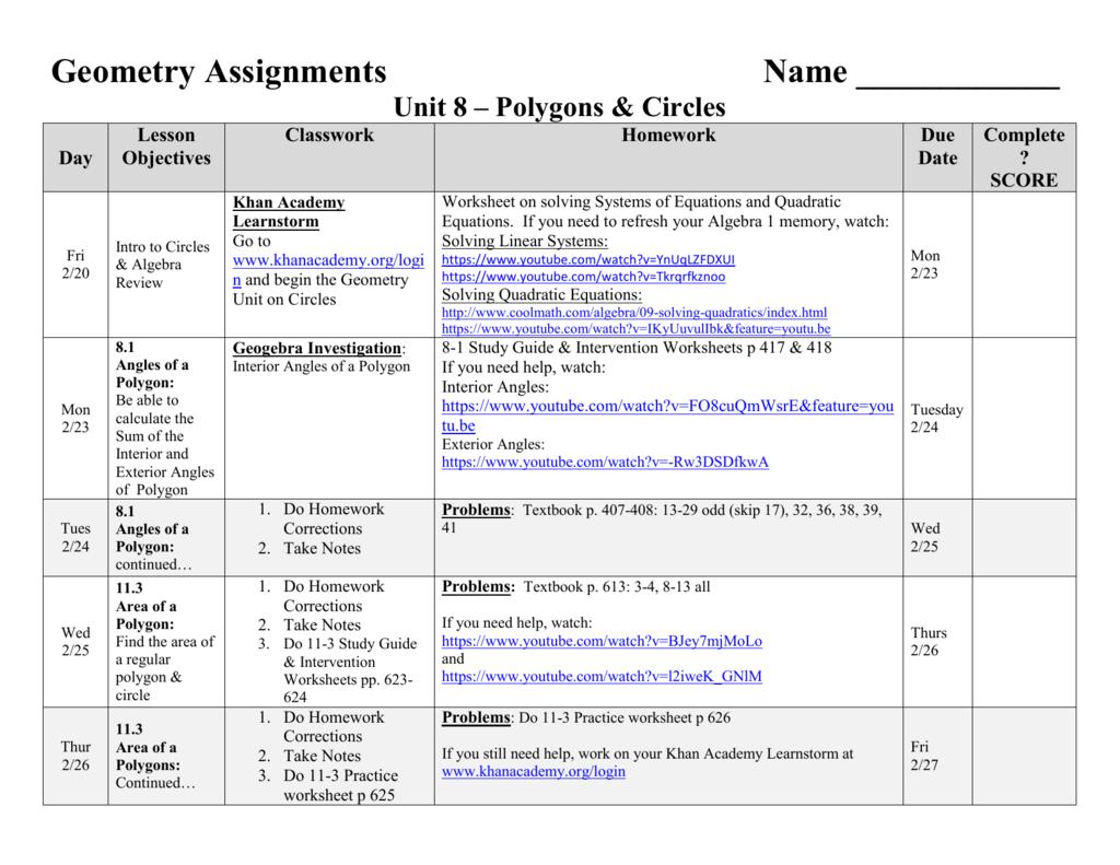 Geometry Area Of Regular Polygons Worksheet