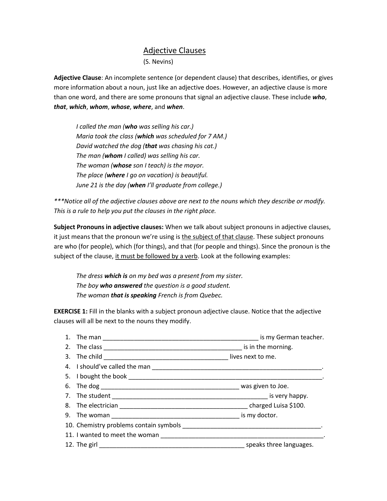 Adjective Clauses Worksheet Copy
