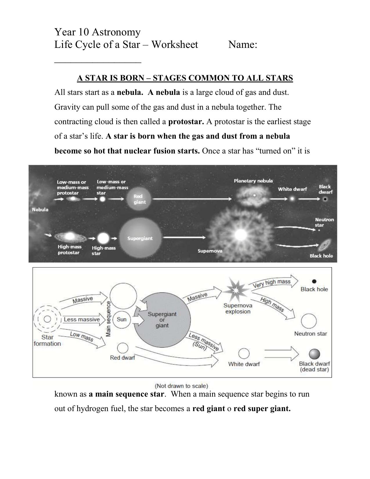 Label A Star Worksheet