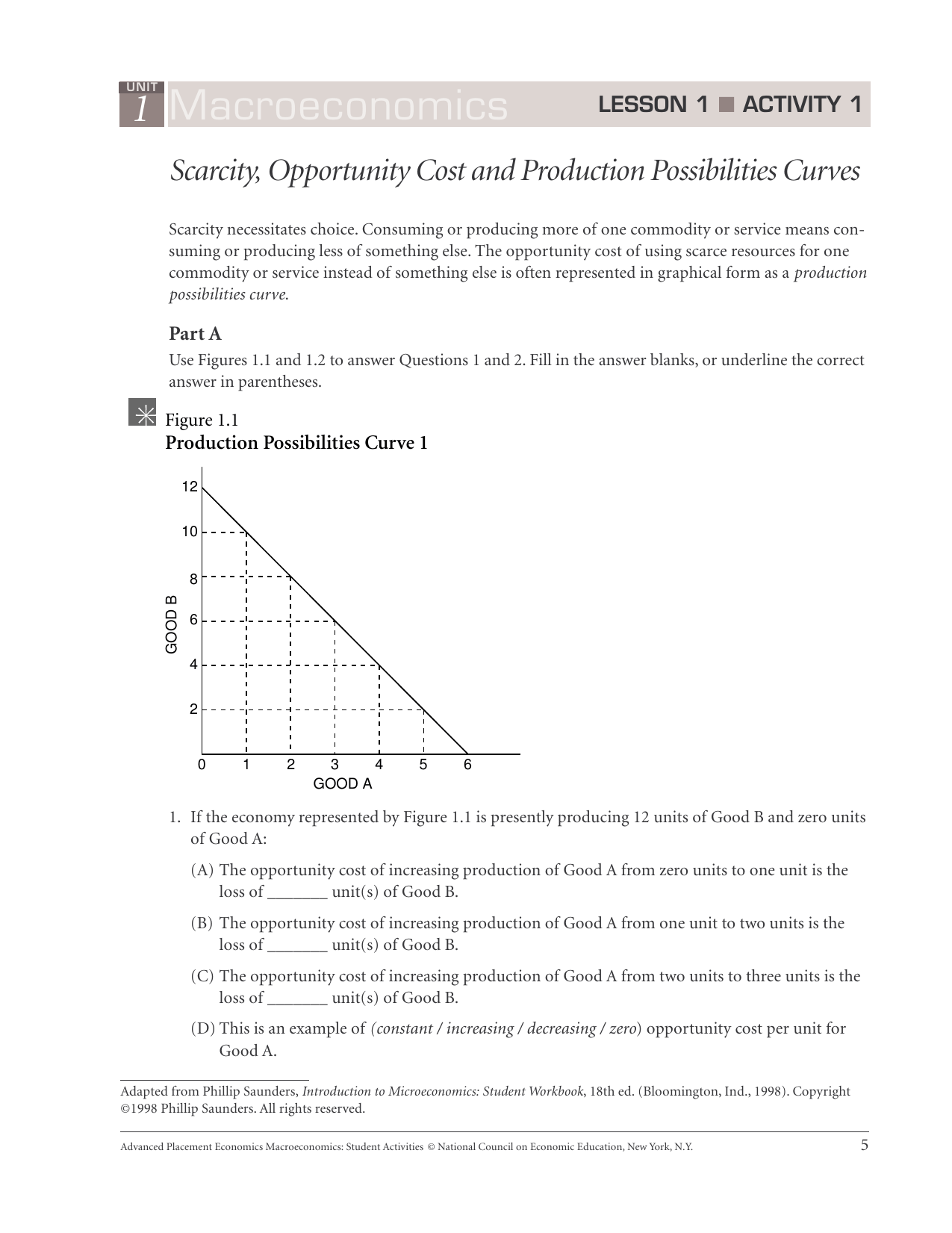 Unit 1 Introduction To Economics Worksheet Answers