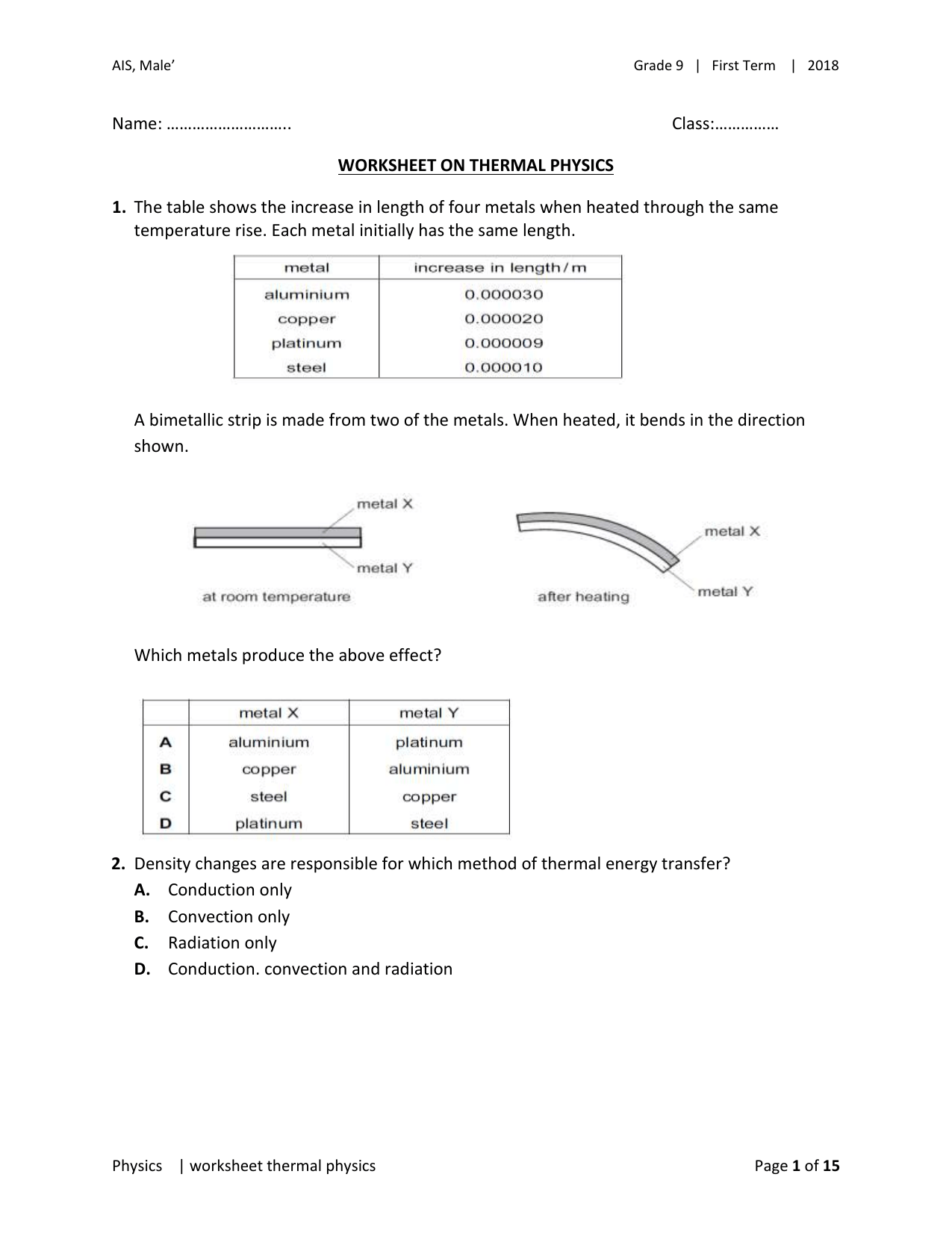 Worksheet On Thermal Physics