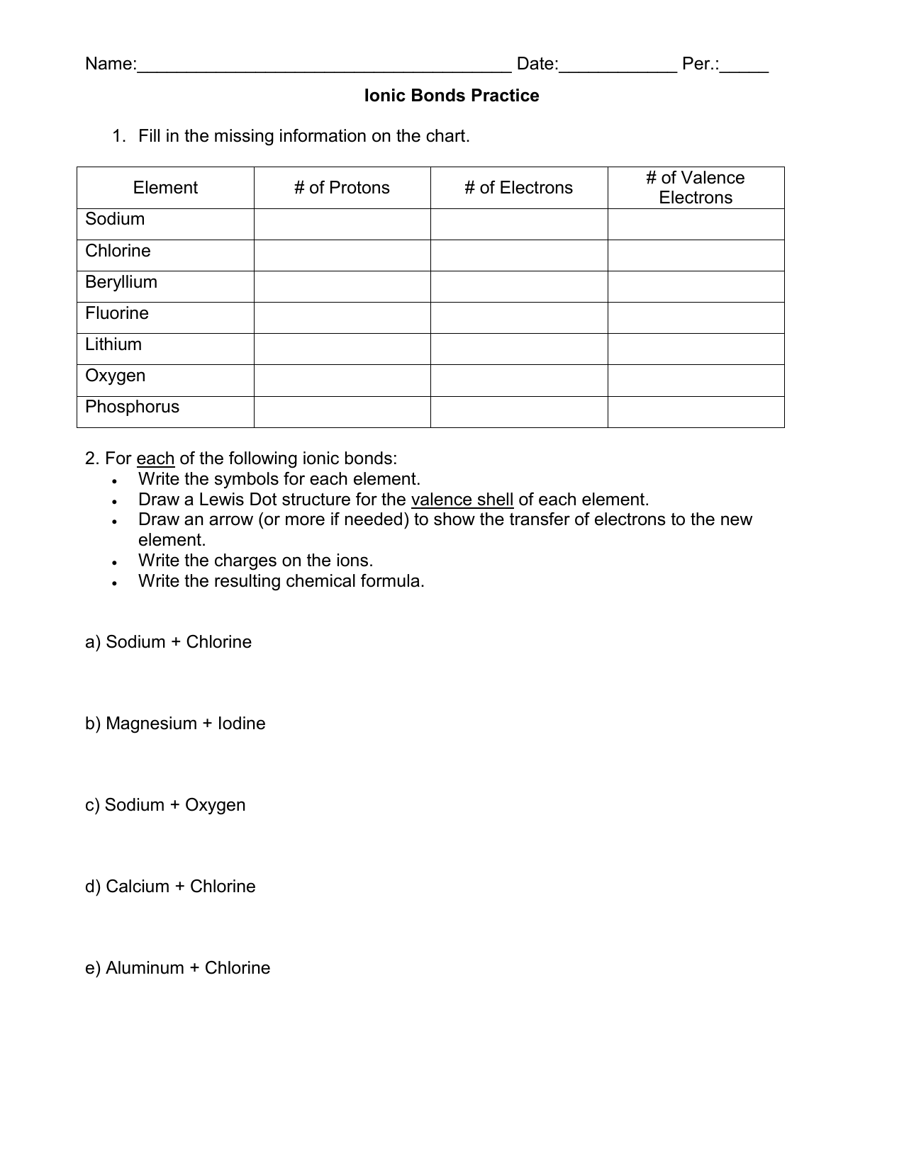 Ionic And Covalent Bonds Worksheet