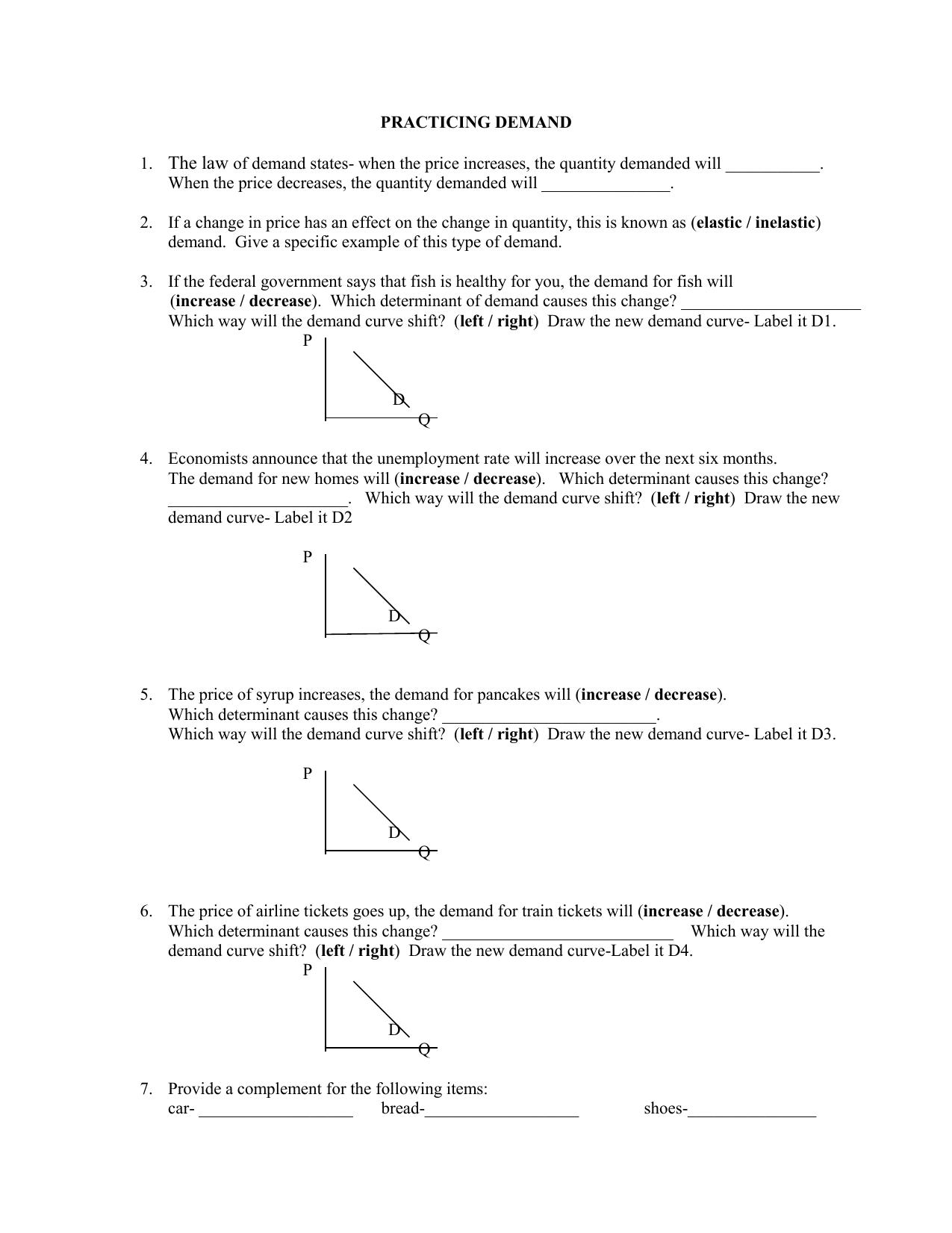 Demand Elasticity Supply And Profit Worksheet