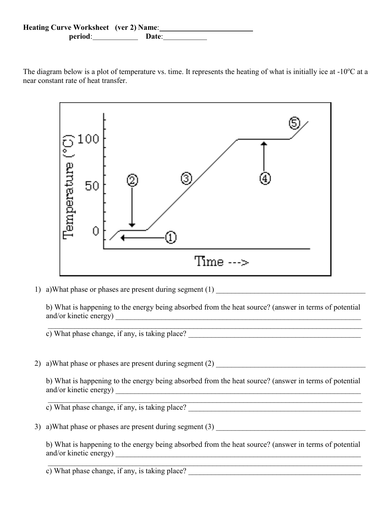 Heating Curve Worksheet