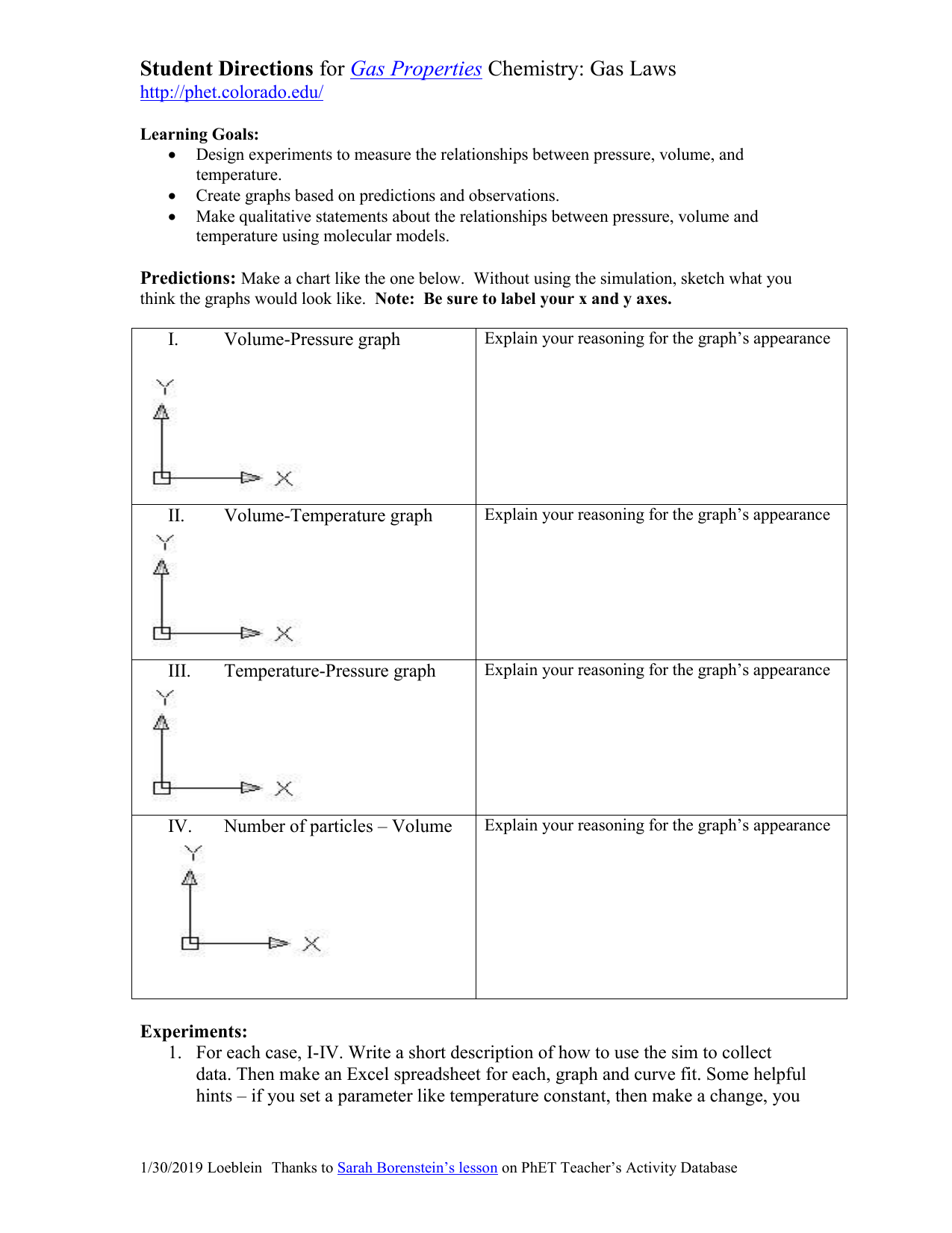 Gas Properties Laws Student Directions
