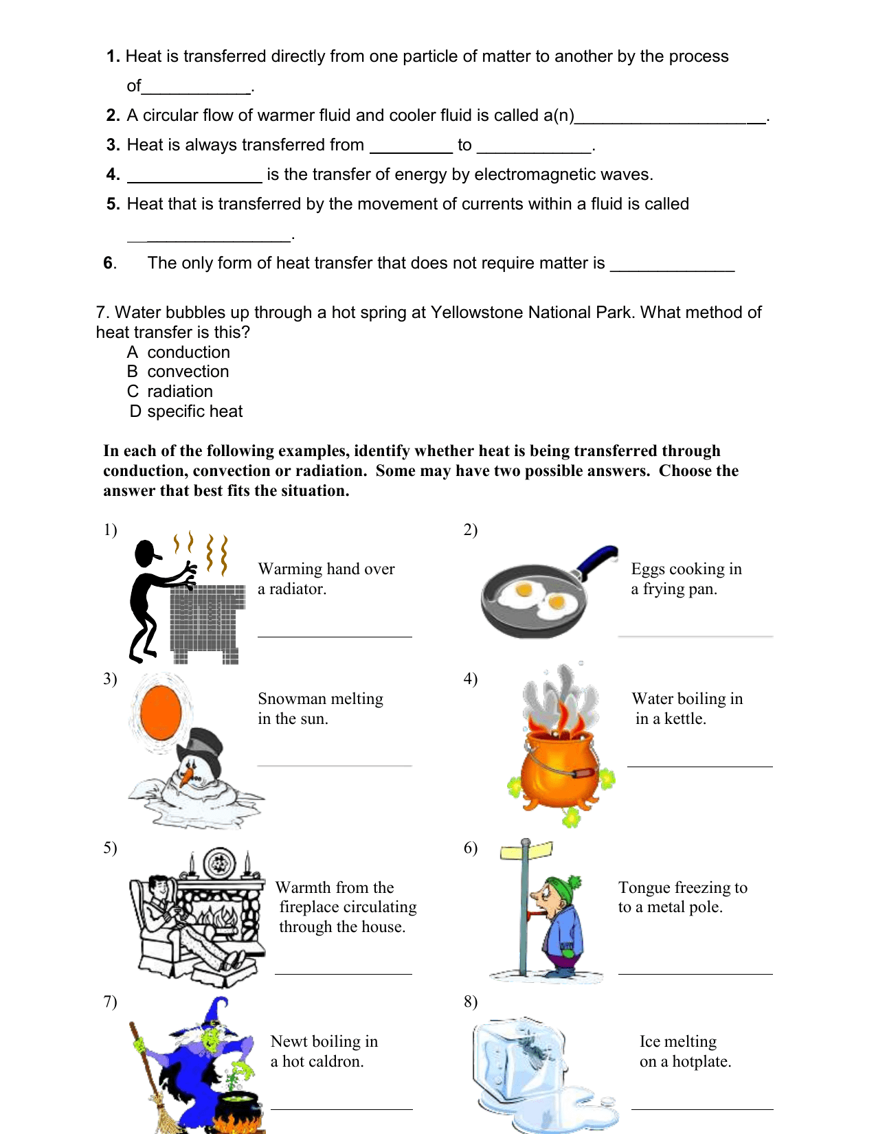 Heat Worksheet Grade 4