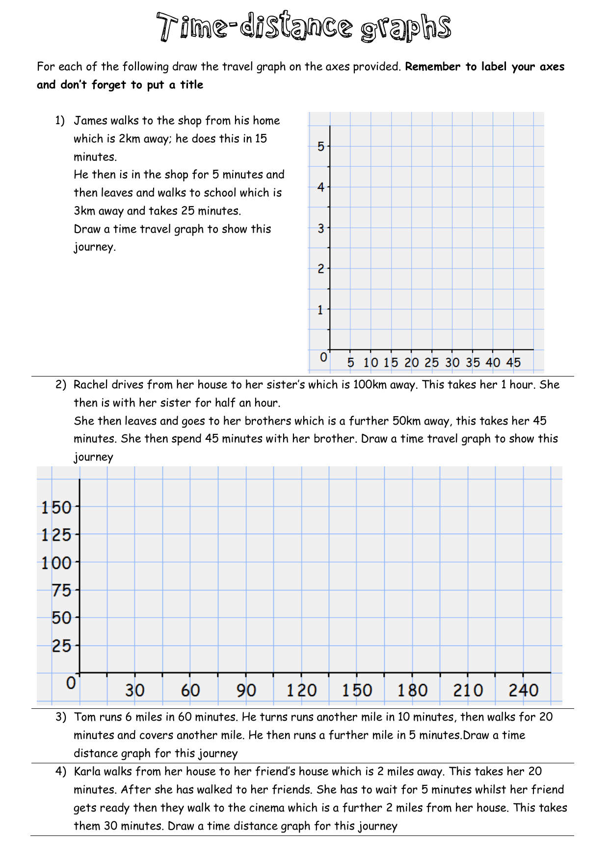 Distance Vs Time Graph Worksheet