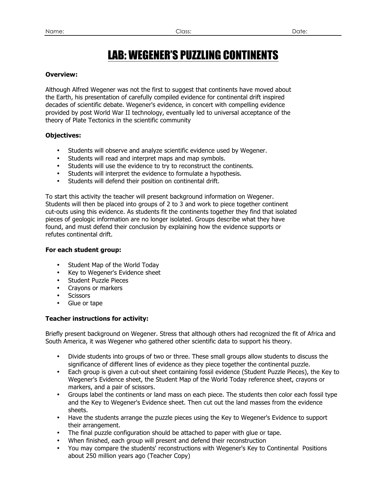 Drifting Continents Worksheet Answers