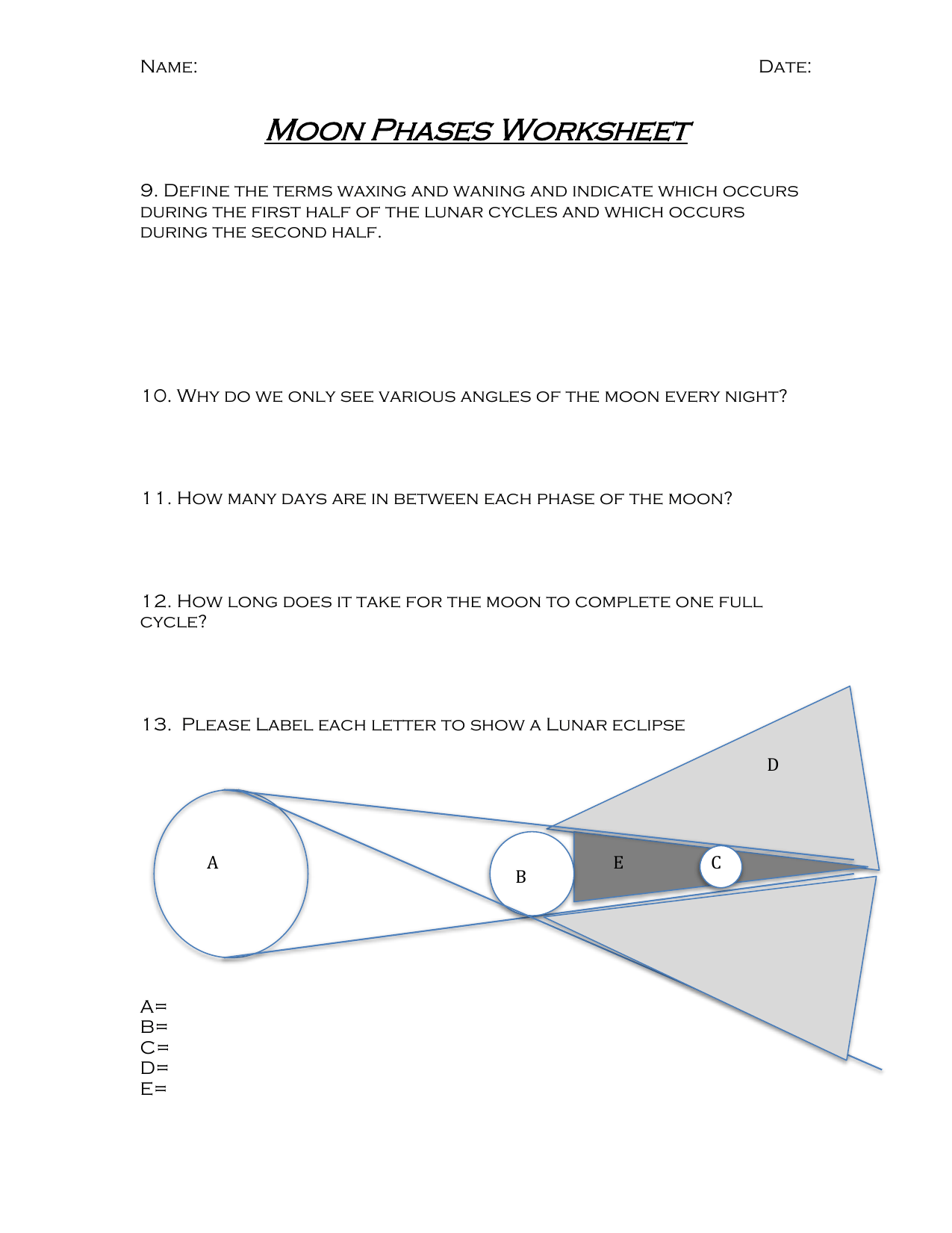 Moon Phases Worksheet 2