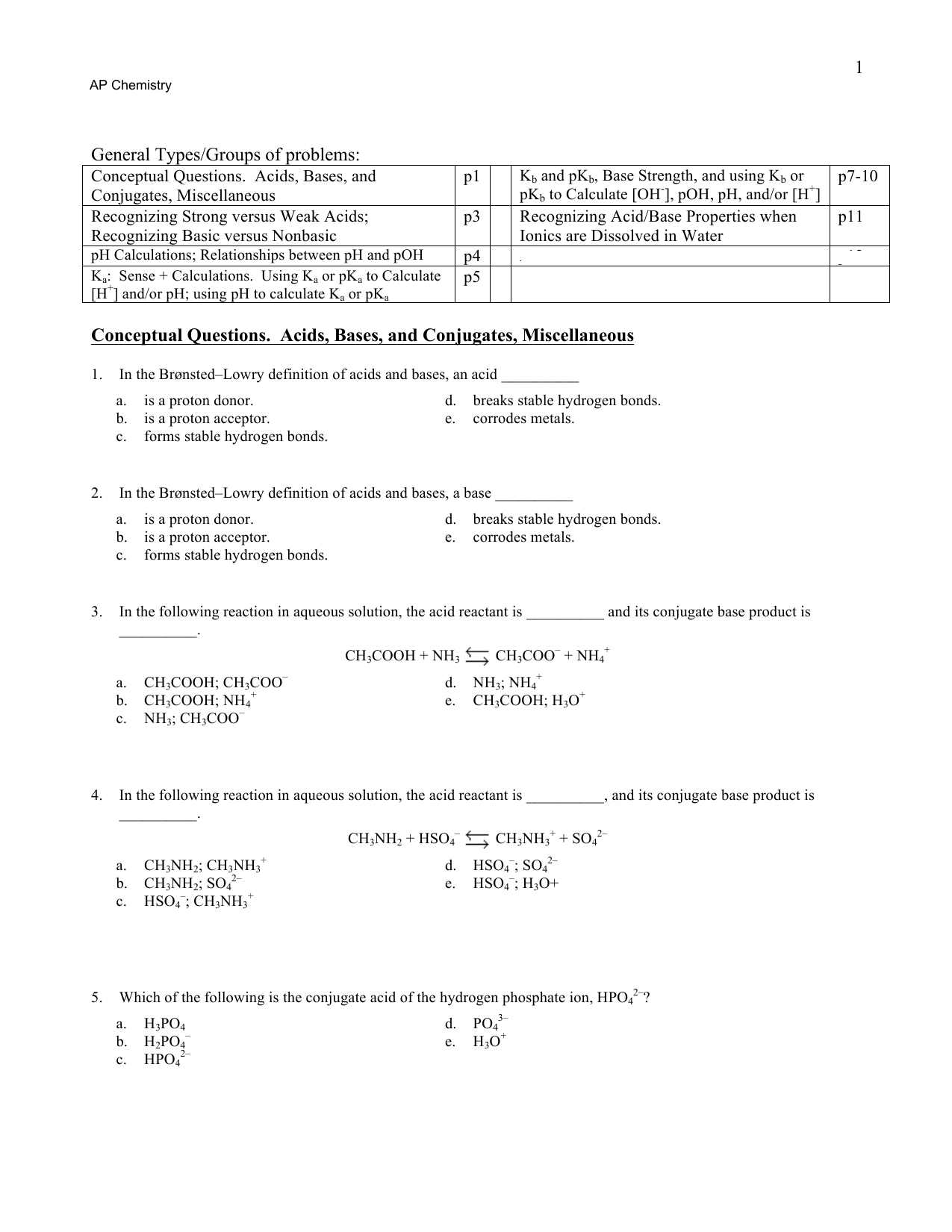 Acid Base Practice Problems With Answers