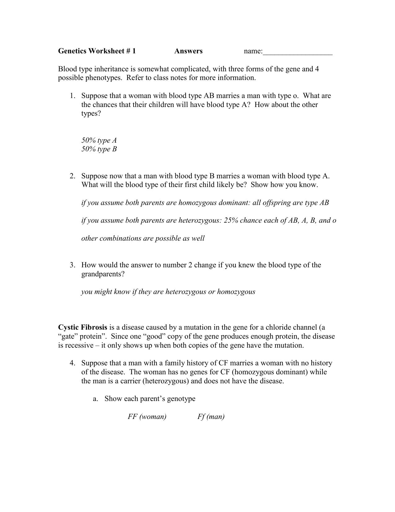 Genetics Worksheet Answers