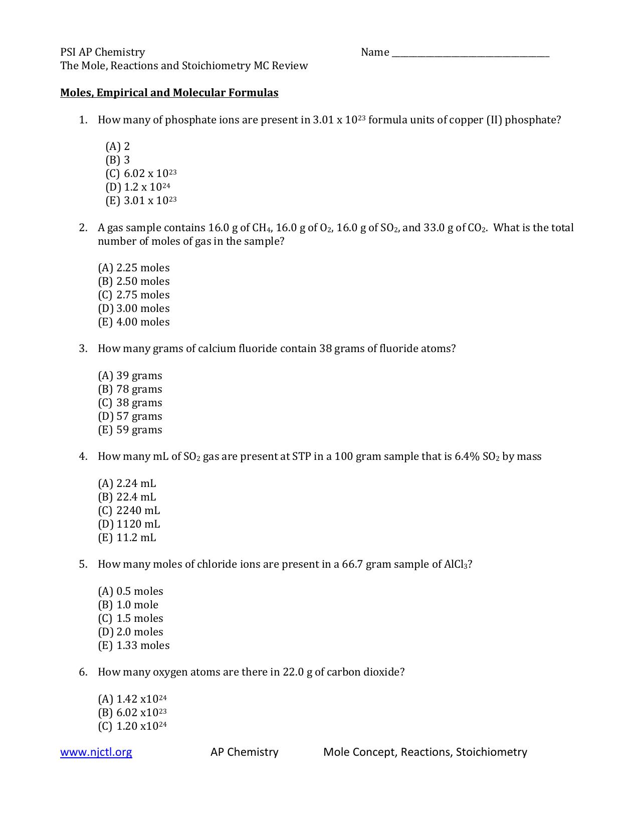 Worksheet Moles Wordfile