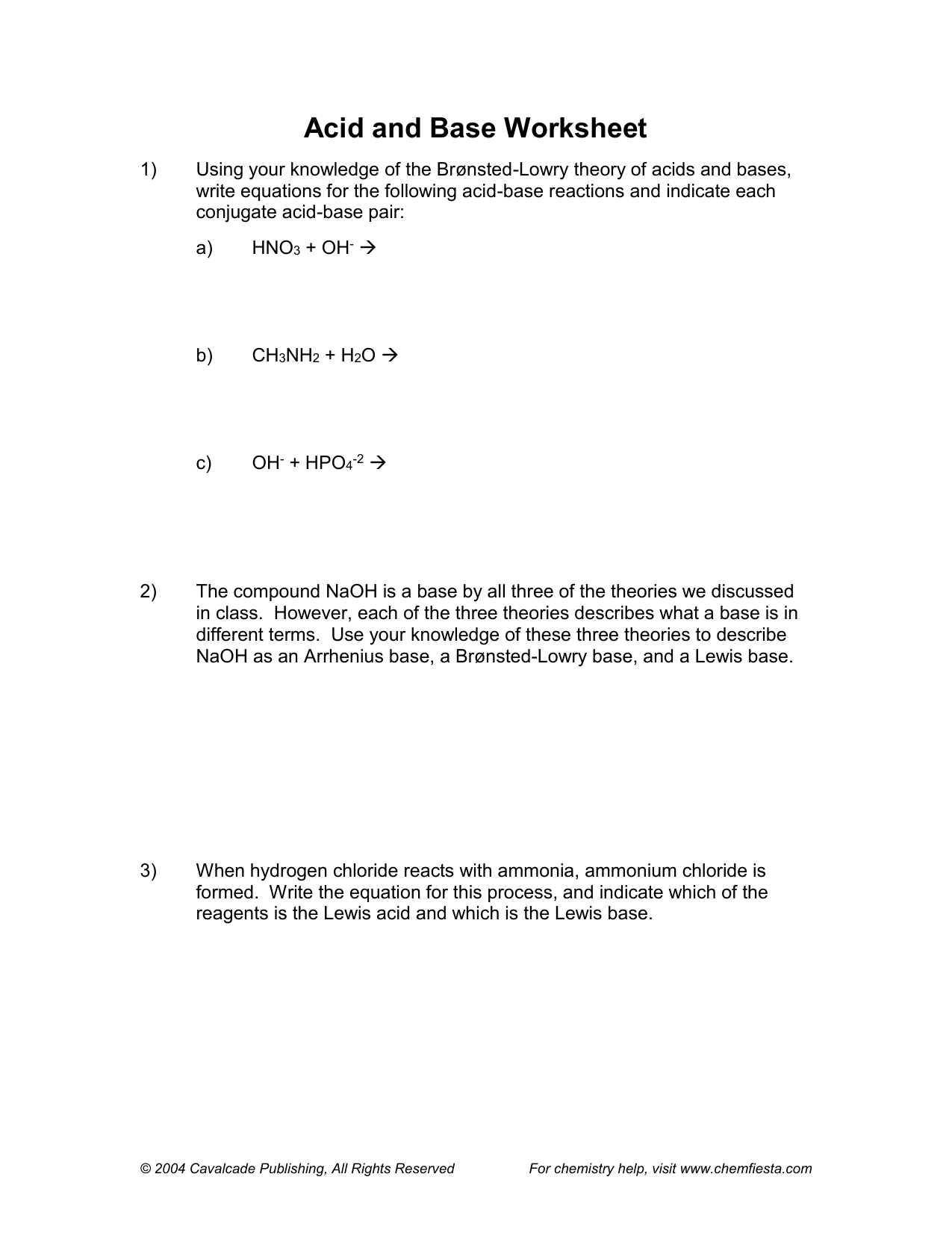 Acid Base Worksheet Chemical Equations