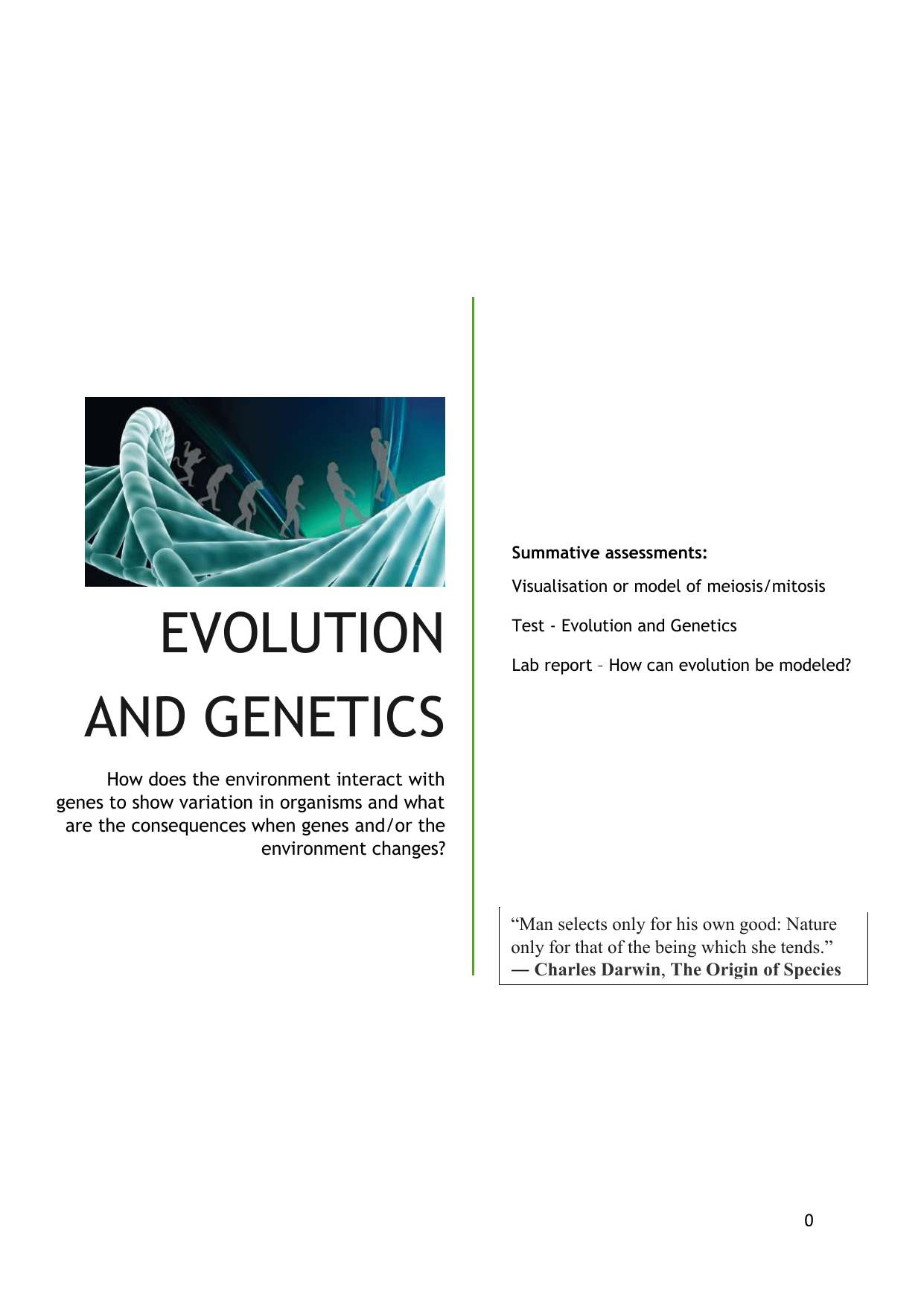 Evolution And Genetics Workbook