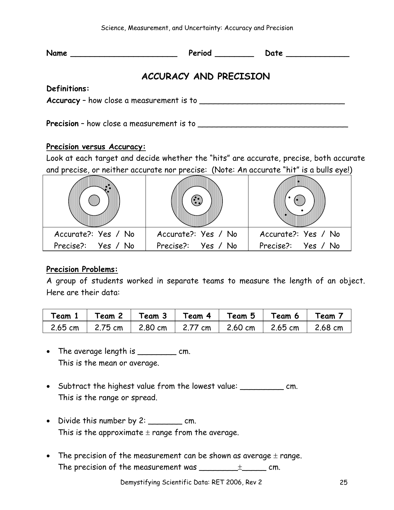 Worksheet Accuracy And Precision Final