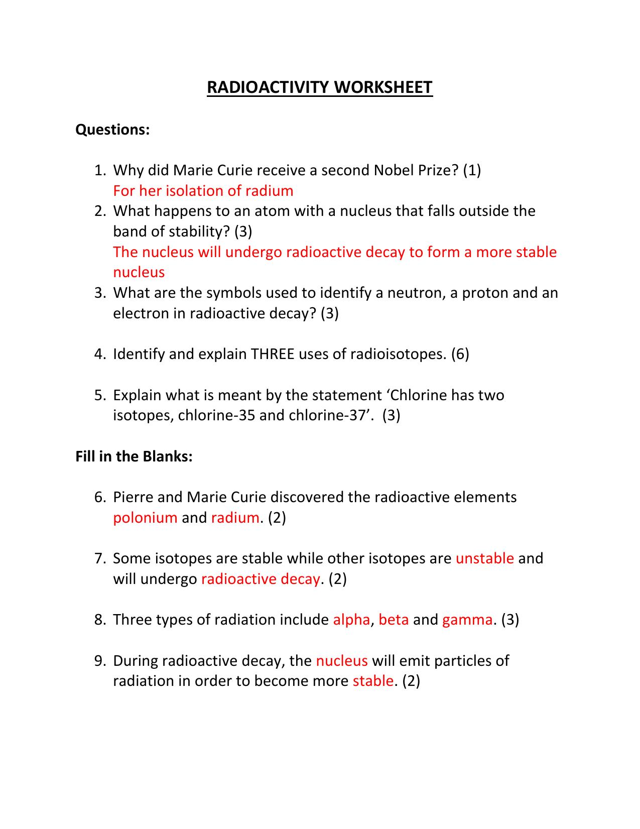 Radioactivity Worksheet Answers
