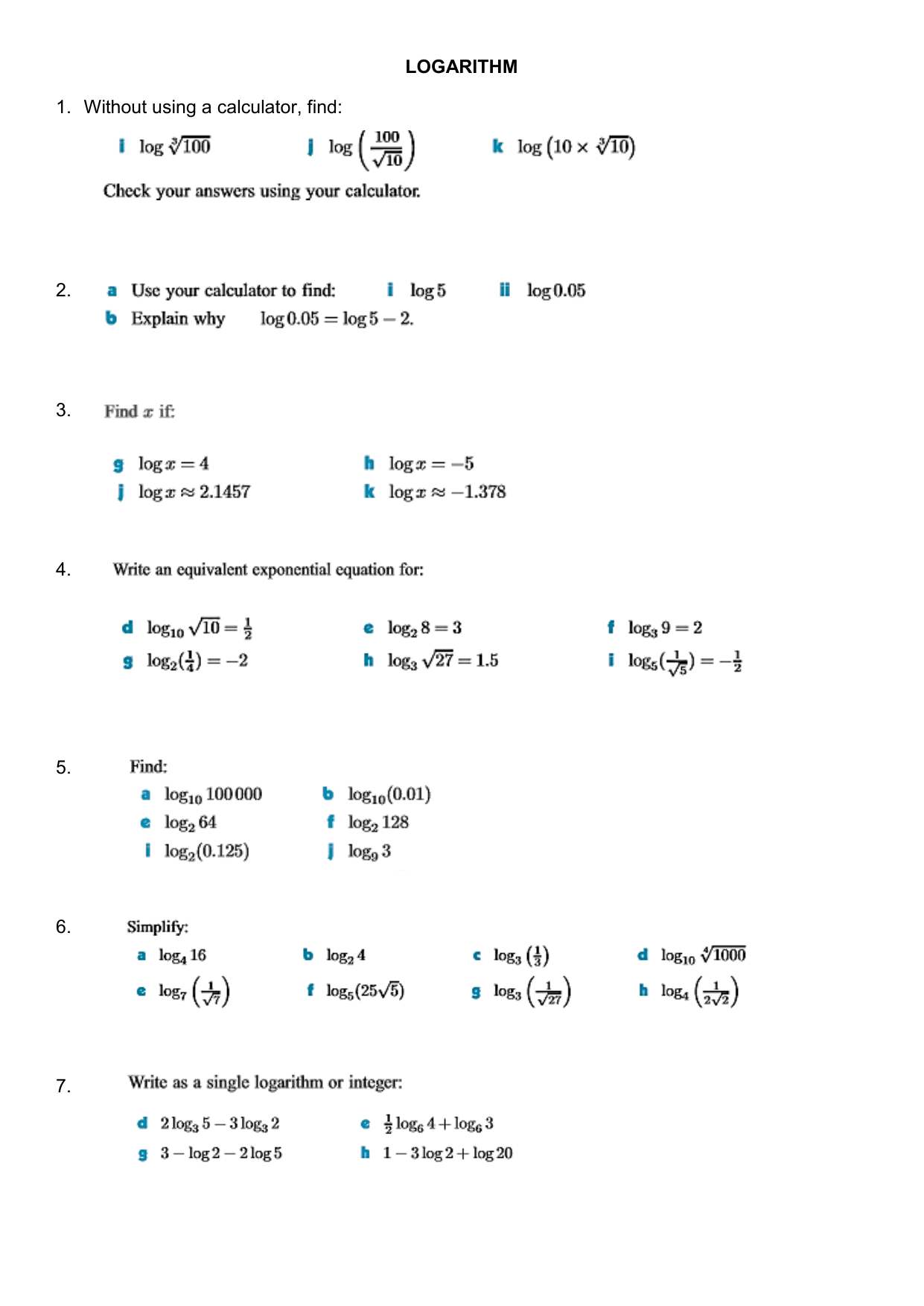 Logarithm Worksheet