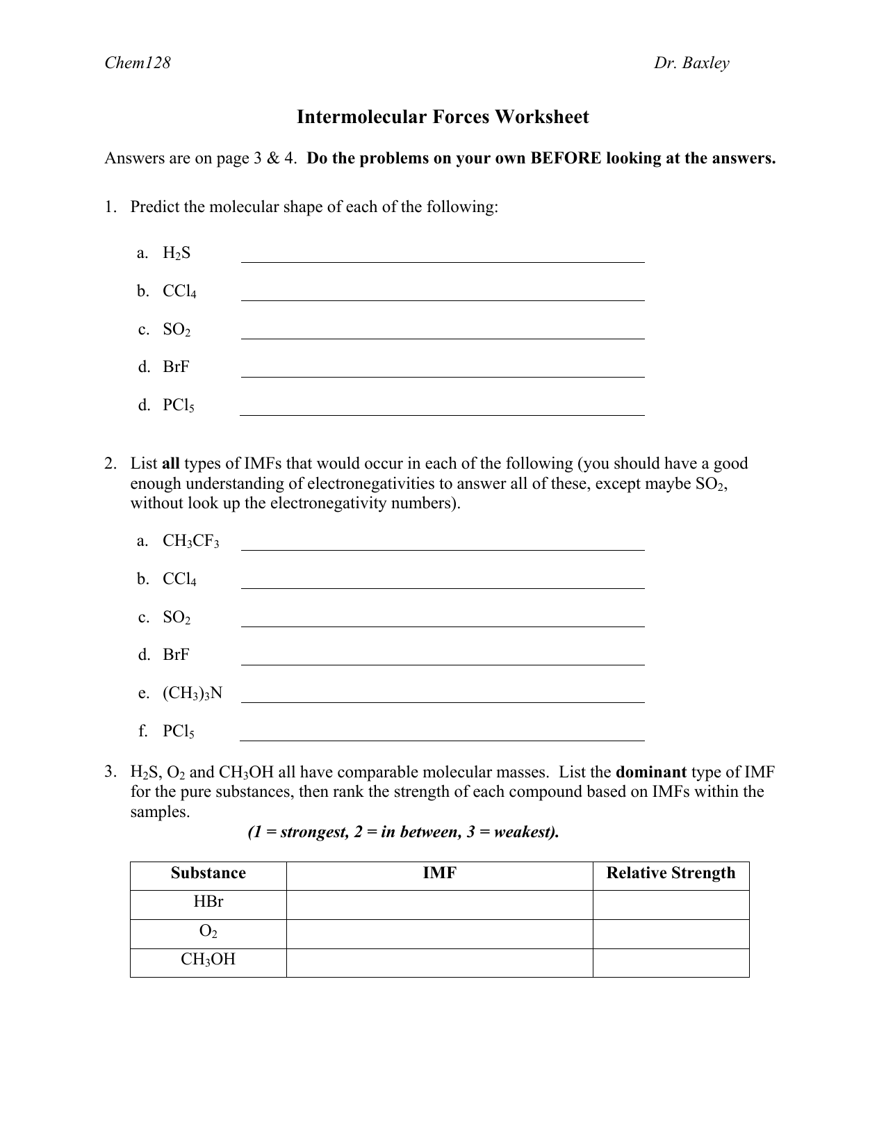 3 Intermolecular Forces Worksheet With Key