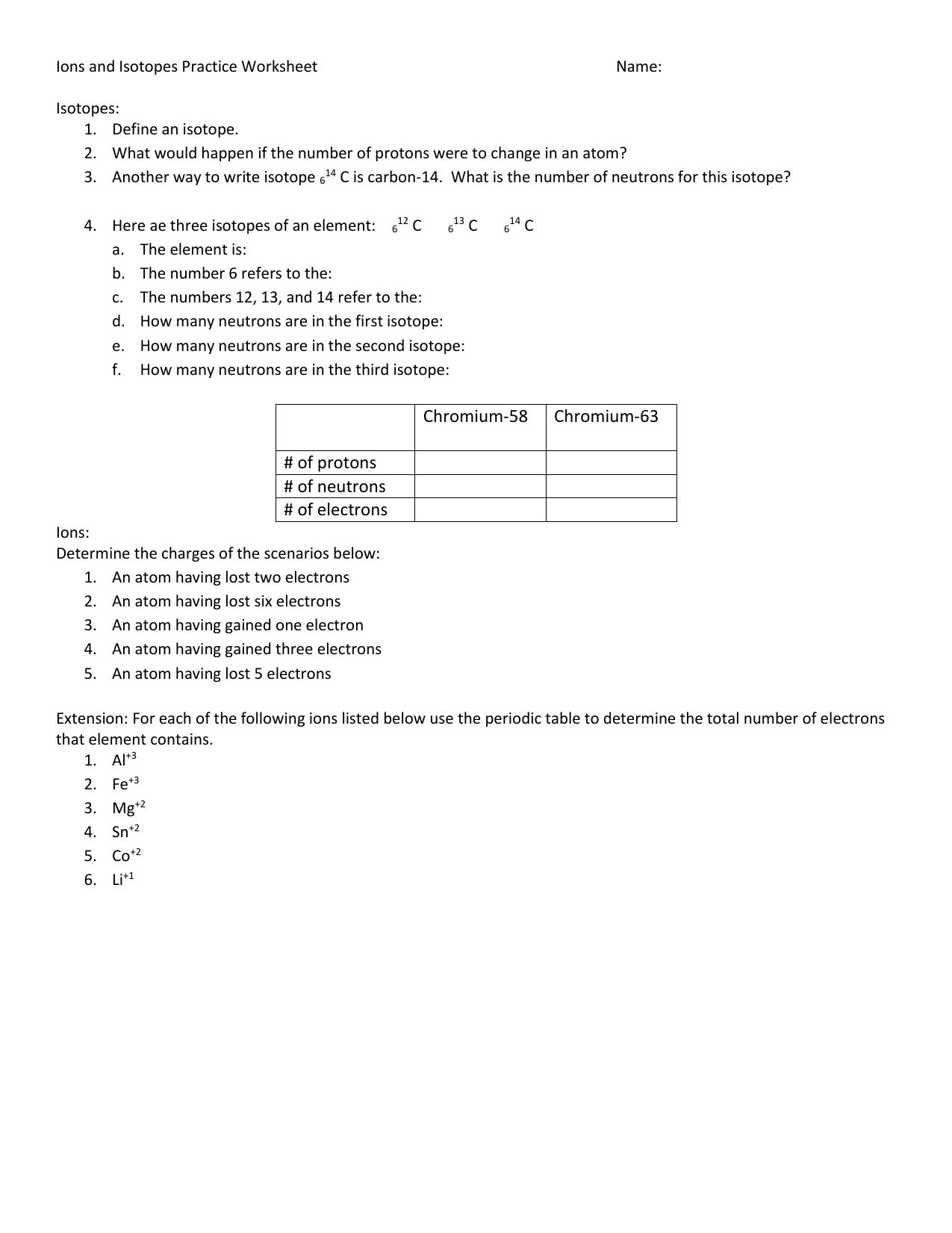 Isotopes Worksheet