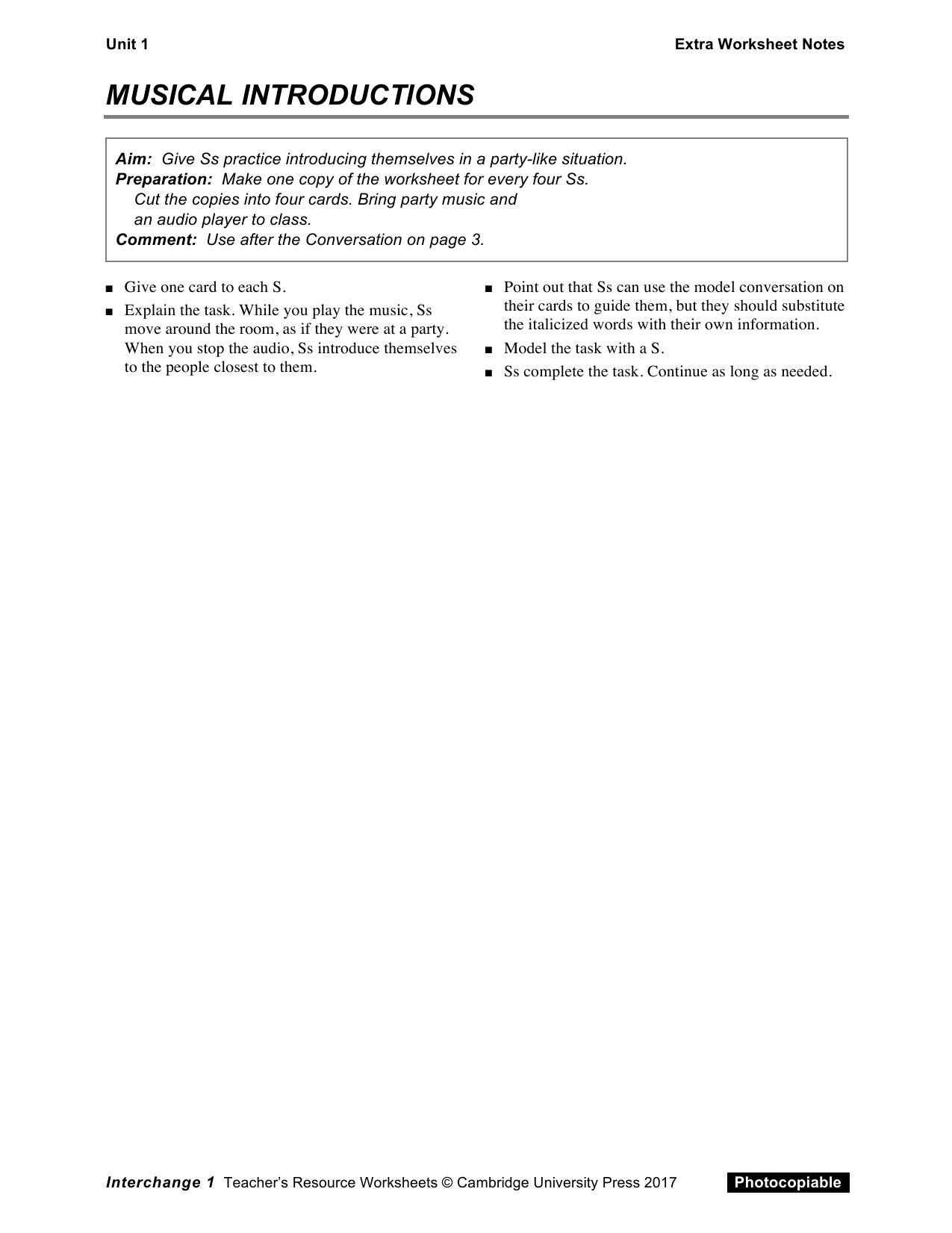 Interchange5thed Level1 Unit01 Extra Worksheet