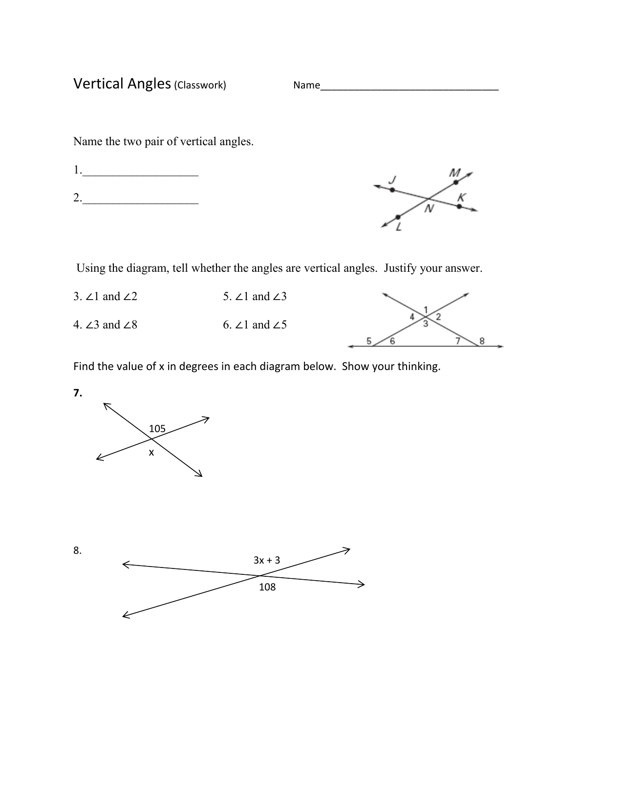 Vertical Angles Worksheet Classwork